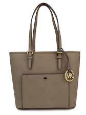 Michael Kors Jet Set Dark Dune Medium Snap Pocket Tote Leather