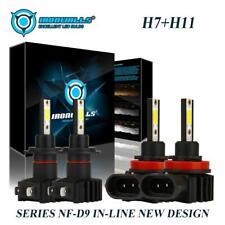 4PCS Combo H7+H11 LED Headlight Bulbs Kit 4400W 660000LM Hi/Low Beam 6000K White