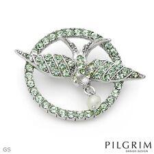 Green Stones $48 Retail #33 Pilgrim Skanderborg Denmark Brooch With Precious