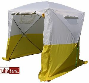 Freizeit-und Montagezelt leicht und in 30 Sekunden aufgeklappt, weiß/ gelb