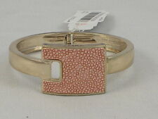 Guess Goldtone Just Stingin Pink Reptile Faux Leather Inlay Hinged Cuff Bracelet