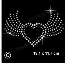 Strass / Diamante transfer HOTFIX FERRO DA STIRO cuore Motif Appliqué in Cristallo Regalo