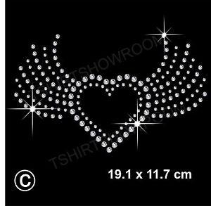 Rhinestone/Diamante Transfer Hotfix Iron on Heart Motif Appliqué in crystal Gift