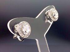 Circle Dainty Clip-On Stud Earring Swarovski Clear Crystal Silver 11mm Wedding