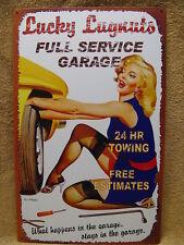 Lucky Lugnuts Garage Hot Girl Tin Metal Sign FUNNY HUMOROUS Man Cave Bar Room