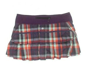 LULULEMON Pace Setter run tennis Skirt Wheezy Check Multi berry purple  sz 8
