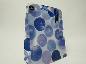 Blue Spot Medium Plastic strong reusable Gift bag with Tag 33 inches- Brand New