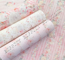 """GORGEOUS """"ROMANTIC"""" PINK & GREY FLORAL  PRINTED FABRIC SHEET..HAIR BOWS, CRAFTS"""