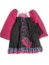 Euc Girls Dress Pants Leggings Set Twirls & Twigs Pink Gray Embroidery 7 8