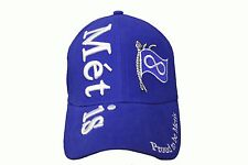 Proud To Be Metis Metis Title & Flag Blue  EMBROIDERED HAT CAP ..  NEW