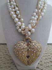 NWT Auth Betsey Johnson Heaven Sent Wing Heart Pendant Pearl Statement Necklace