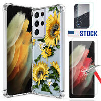 For Samsung Galaxy S21+ /S21 Ultra 5G Clear Case Tempered Glass Screen Protector