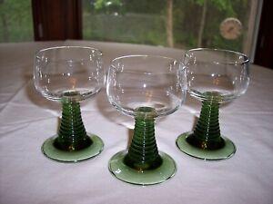 """Lot of 3 Roemer Green Stemmed 4 ¼"""" Wine Glasses"""