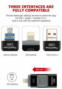 PhotoStick 256GB Easy One Click Photo and Video Backup USB OTG Flash Drive 3.0