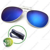 Polarized Lens UV400 Flip-Up Clip On Sunglasses Wear Over Glasses for Driving B