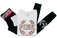 NWT Victorias Secret PINK Graphic Crewneck Tshirt Tee Leggings Pants Set XSmall