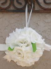 12 FLOWER BALLS ~ IVORY CREAM ~ Kissing Ball Pomander Wedding Flowers Pew Bows