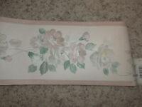 NIP 1 Roll NORWALL Beige and Green Floral Vinyl Wallpaper Border