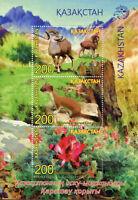 Kazakhstan 2017 MNH Karatau Nature Reserve 3v M/S Wild Animals Flowers Stamps