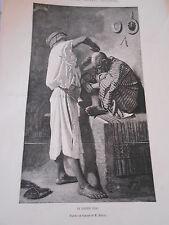 Gravure 1873 - Le Barbier Turc