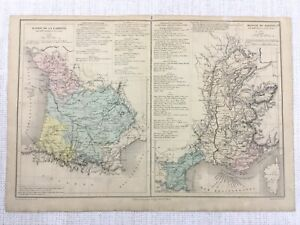 1877 Antique Map of French River Routes Garonne The Rhone Hand Coloured 19th C
