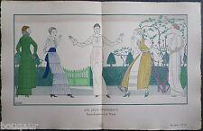 BOUTET DE MONVEL Pochoir Art Déco ORIGINAL planche double 1914 GAZETTE BON TON
