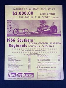 Vintage 1966 Southern Regionals Twin City Dragway Oldsmar Florida Sign Poster