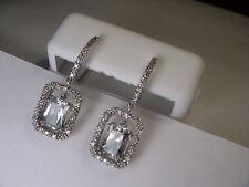 Beautiful Estate 14K White Gold Green Amethyst Diamond Dangle Drop Earrings