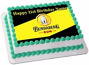 BUNDABERG RUM REAL EDIBLE ICING CAKE TOPPER PARTY IMAGE FROSTING SHEET