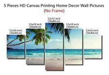 5 Pieces Canvas Printing Picture Home Decor Wall Art No Frame - Palm Tree Beach