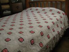 Vintage Crochet White Pink 3D Floral Rosette King Queen Full Bedspread 98x98