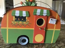 Trailer Wood Birdhouse Coldwater Creek New Bright Orange Green Yellow Metal Roof
