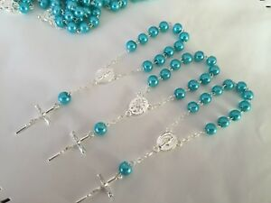 50 Pc Mini Rosary TEAL COLOR Baptism Favors/recuerdos De Bautizo/ Priority