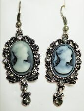 Grey faux cameo drop earrings in pewter tone Approx 5.5cm on hooks