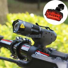 CREE Q5 LED 2000 Lumen Cycling Bike Head Lamp Flashlight Torch +5 LED Tail light