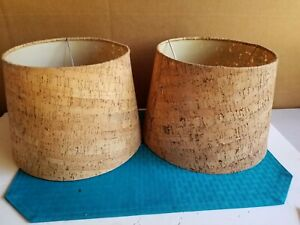 """Natural Cork Retro Boudior Lamp Shades (Set of 2) 7 1/2"""" Tall"""