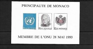 SMT, 1993 MONACO, souvenir sheet IMPERFORATE, MNH CV € 220