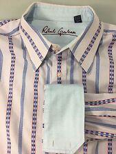 Robert Graham 2XL Blue Red Striped Check Long-Sleeve Cotton Shirt Contrast Cuffs