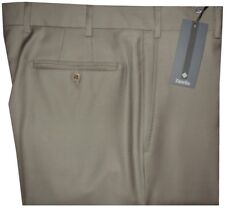 $395 NEW ZANELLA DEVON SOLID TAN TAUPE SUPER 120'S WOOL MENS DRESS PANTS 34