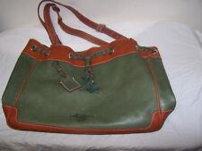 BOLDRINI SELLERIA for DOONEY and BOURKE  green / brown leather BAG handbag purse