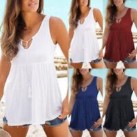 Womens Casual Summer Sleeveless Vest Loose Blouse Beach Holiday Tank Top T Shirt