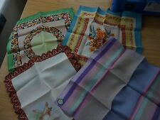 4 RARE VINTAGE SILK? HANDKERCHIEFS FLORAL WELSH & OTHERS DESIGNS