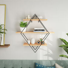 Vintage Wall Unit Retro Industrial Rhombus Metal Wood Shelf Rack Storage Display
