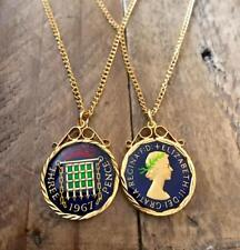 VINTAGE 1967 ENAMEL THREEPENCE COIN PENDANT & NECKLACE. GREAT BIRTHDAY PRESENT