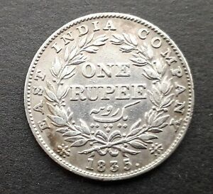 EAST INDIA COMPANY 1835 One Rupee silver coin - King William IIII