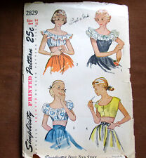 BARE MIDRIFF Blouse RUFFLED Top Size 14 Vintage Sewing Pattern Simplicity 2829