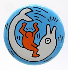 1989 KEITH HARING Ecology Save The Dolphins pinback button ^