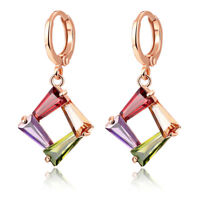 Colorful Mix Color Morganite Gemstone Topaz Women Holiday Jewelry Gifts Earrings