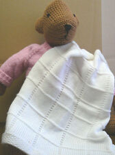 KNITTING PATTERN - SIMPLE TO KNIT SEED STITCH AND SQUARES BABY BLANKET/SHAWL