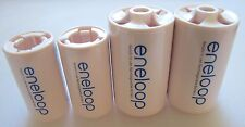 Genuine SANYO ENELOOP Spacers Adapters AA to C & D Size Battery 4 Pcs NEW